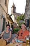 Op het terras in Sibiu